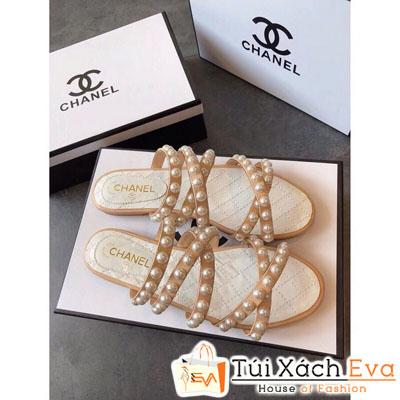 Giày Chanel Super Quai Chéo Đính Ngọc Trai Màu Kem