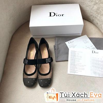 Giày Dior Super Lưới Chữ Bạc Màu Đen
