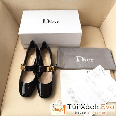 Giày Dior Super Màu Đen Da Bóng Chữ Vàng