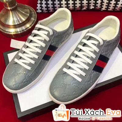 Giày Gucci Super Da Nổi Màu Xám