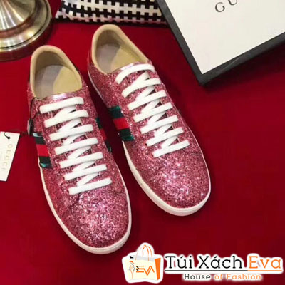 Giày Gucci Super Kim Tuyến Màu Hồng