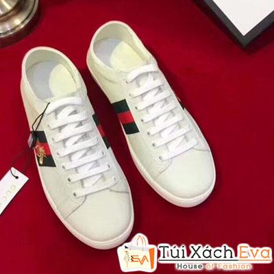 Giày Gucci Super Thiêu Hình Con Ong Màu Trắng