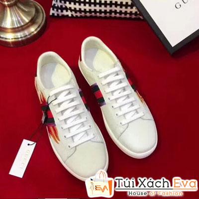 Giày Gucci Super Thiêu Hình Lửa Màu Trắng