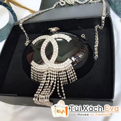 Túi Chanel Strass Fring Minaudiere Siêu Cấp Tròn Tua Rua Bạc Màu Đen