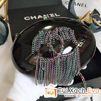Túi Chanel Strass Fring Minaudiere Siêu Cấp Tròn Tua Rua  Màu Đen