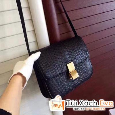 Túi Xách Celine Classicbox Siêu Cấp Da Rắn Màu Đen