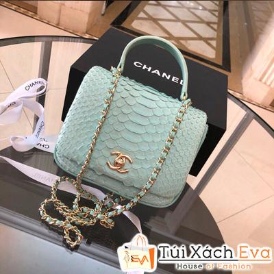 Túi Xách Chanel coco  Siêu Cấp Da Rắn Màu Xanh Ngọc