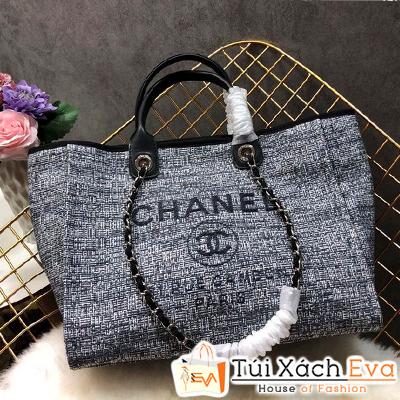 Túi Xách Chanel 2 Quai Siêu Cấp Nỉ Màu Đen