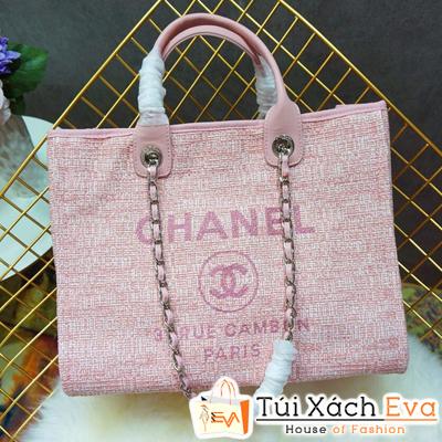 Túi Xách Chanel 2 Quai Siêu Cấp Nỉ Màu Hồng