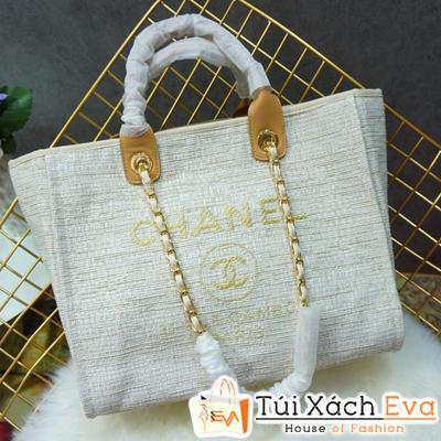 Túi Xách Chanel 2 Quai Siêu Cấp Nỉ Màu Trắng
