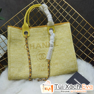 Túi Xách Chanel 2 Quai Siêu Cấp Nỉ Màu Vàng