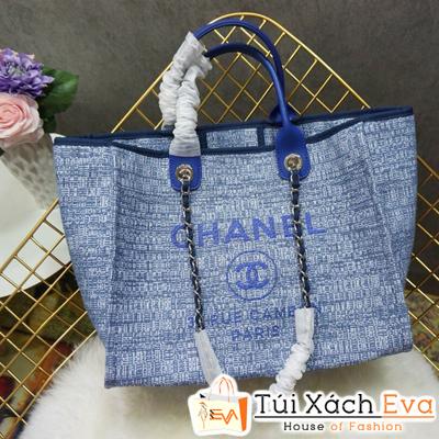 Túi Xách Chanel 2 Quai Siêu Cấp Nỉ Màu Xanh Dương