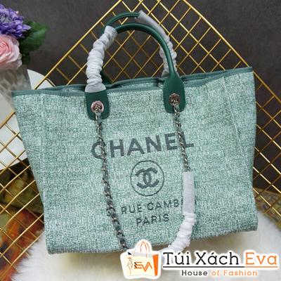 Túi Xách Chanel 2 Quai Siêu Cấp Nỉ Màu Xanh Lá