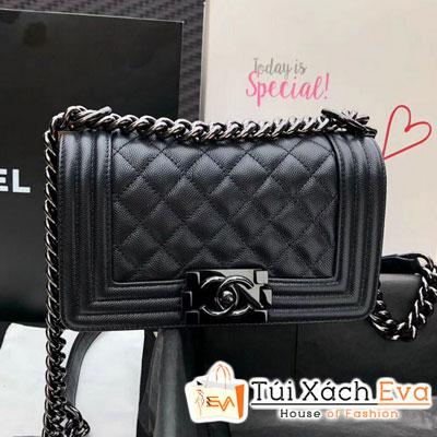 Túi Xách Chanel  Boy Flap Bag Siêu Cấp Màu Đen Da Hạt Khóa Đen