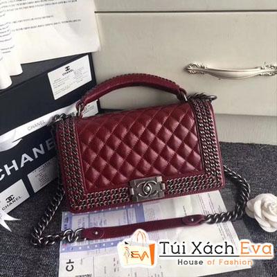 Túi Xách Chanel Boy Flap Shoulder Bag Siêu Cấp Màu Đỏ Đô Khóa Đen Da Lì A67086