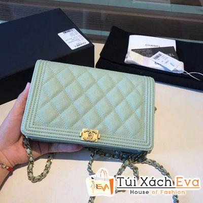 Túi Xách Chanel Boy Original Wallet Siêu Cấp Màu Xanh Ngọc A80287