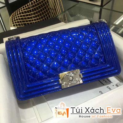 Túi Xách Chanel Boy Siêu Cấp Da bóng khóa bạc màu xanh dương