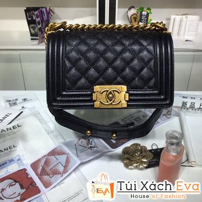 Túi Xách Chanel Boy Siêu Cấp Da Hạt Khóa Vàng