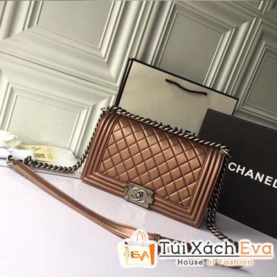 Túi Xách Chanel Boy Siêu Cấp Da Lì Khóa Bạc