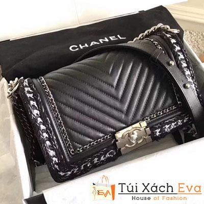 Túi Xách Chanel Boy Siêu Cấp Da Lì Khóa Bạc Viền Len Trắng