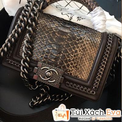 Túi Xách Chanel Boy Siêu Cấp Da Rắn Khóa Bạc