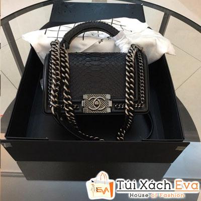 Túi Xách Chanel Boy Siêu Cấp Da Rắn Khóa Bạc Màu Đen