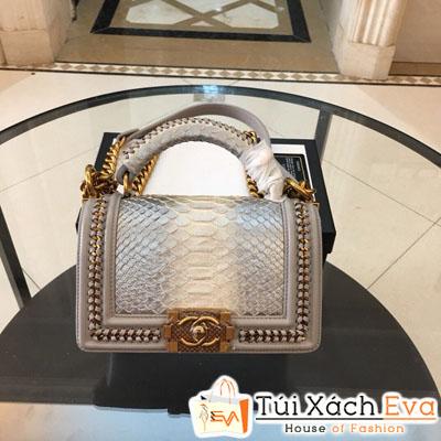 Túi Xách Chanel Boy Siêu Cấp Da Rắn Khóa Vàng Màu Bạc