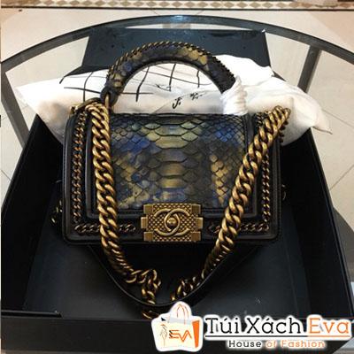 Túi Xách Chanel Boy Siêu Cấp Da Rắn Khóa Vàng Màu Đen