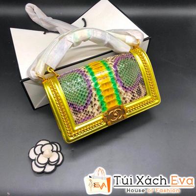 Túi Xách Chanel Boy Siêu Cấp Da Rắn Khóa Vàng Màu Vàng