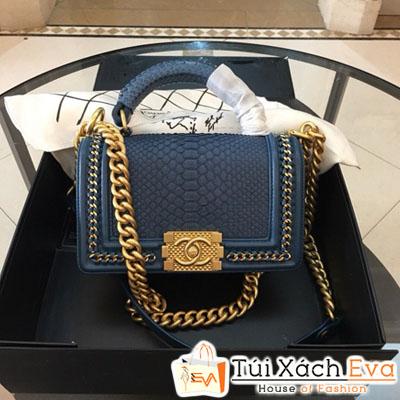 Túi Xách Chanel Boy Siêu Cấp Da Rắn Khóa Vàng Màu Xanh Dương Đậm