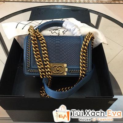 Túi Xách Chanel Boy Siêu Cấp Da Rắn Khóa Vàng Màu Xanh Dương Nhạt