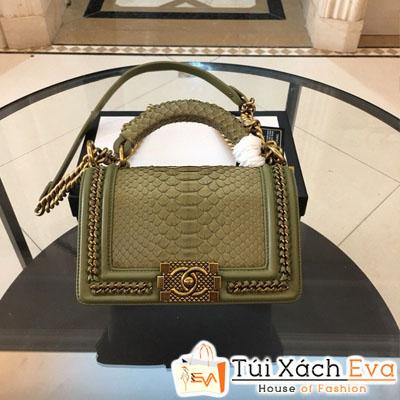 Túi Xách Chanel Boy Siêu Cấp Da Rắn Khóa Vàng Màu Xanh Rêu