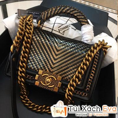 Túi Xách Chanel Boy Siêu Cấp Da Rắn Khóa Vàng Vân V