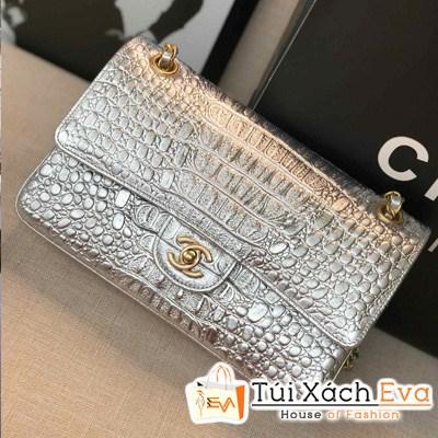 Túi Xách Chanel Classic Siêu Cấp Da Rắn Màu Bạc