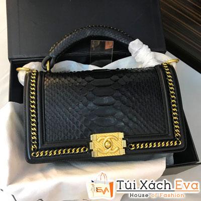 Túi Xách Chanel Boy Siêu Cấp Da Rắn Màu Đen Khóa Vàng Đẹp