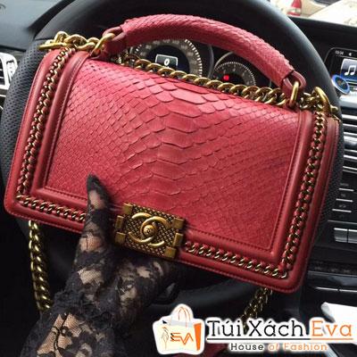 Túi Xách Chanel Boy Siêu Cấp Da Rắn Màu Đỏ Khóa Vàng Đẹp