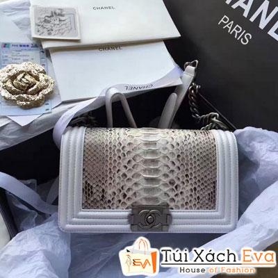 Túi Xách Chanel Boy Siêu Cấp Da Rắn Viền Xám Đẹp