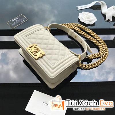 Túi Xách Chanel Boy Siêu Cấp Khóa Vàng Da Hạt Màu Trắng
