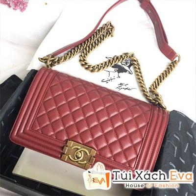Túi Xách Chanel Boy Siêu Cấp Màu Đỏ Đô
