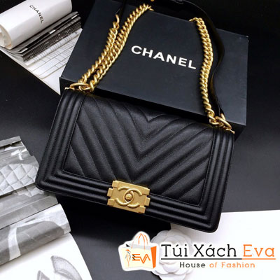 Túi Xách Chanel Boy Siêu Cấp Sọc V Khóa Vàng Màu Đen 67086