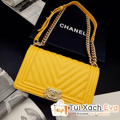 Túi Xách Chanel Boy Siêu Cấp Sọc V Khóa Vàng Màu Vàng 67086