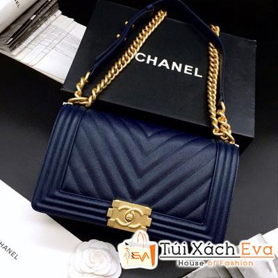 Túi Xách Chanel Boy Siêu Cấp Sọc V Khóa Vàng Màu Xanh Dương  Đậm 67086
