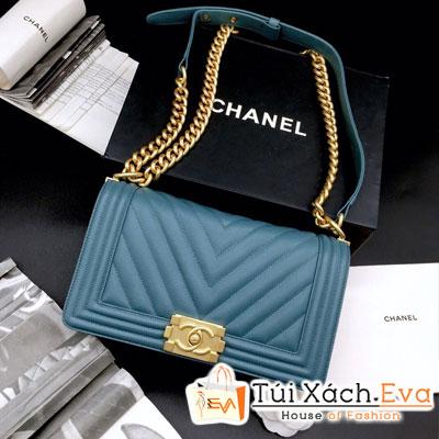 Túi Xách Chanel Boy Siêu Cấp Sọc V Khóa Vàng Màu Xanh Dương Nhạt 67086