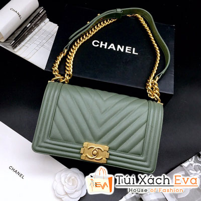 Túi Xách Chanel Boy Siêu Cấp Sọc V Khóa Vàng Màu Xanh Rêu 67086