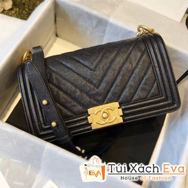 Túi Xách Chanel Boy Siêu Cấp Sọc V Màu Đen