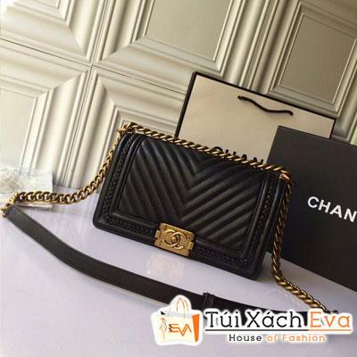 Túi Xách Chanel Boy Siêu Cấp Vân V Da Lì Khóa Vàng