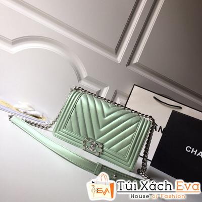 Túi Xách Chanel Boy Siêu Cấp Vân V Da Trơn Khóa Bạc Màu Xanh Ngọc