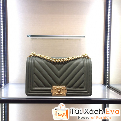 Túi Xách Chanel Boy Siêu Cấp Vân V Khóa Vàng Màu Xanh Rêu Nhạt
