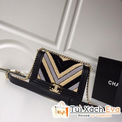 Túi Xách Chanel Boy Small Handbag Siêu Cấp Sọc V Màu Đen