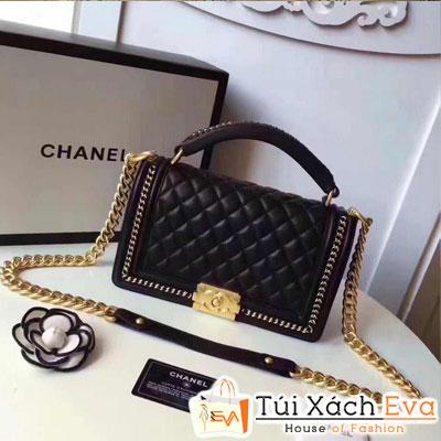 Túi Xách Chanel Boy Super Quai Xích Khóa Vàng Khè